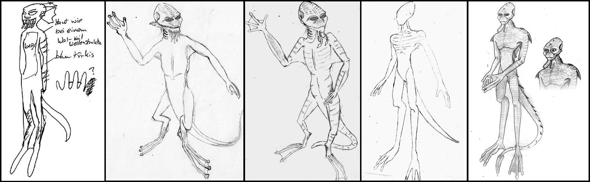 Detaillierung über mehrere Sessions hinweg, die eine amphibische, humanoide Spezies beschreibt.